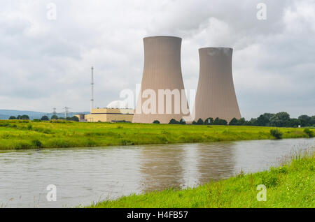 Cooling towers of the Grohnde nuclear powerplant,Germany - Stock Photo