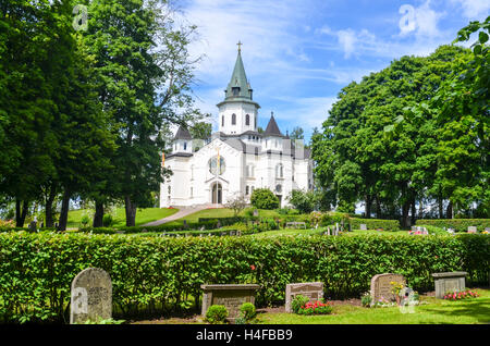 Church and cemetery in Sillerud, Sweden - Stock Photo
