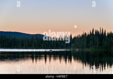 Full moon over a lake in a forest  of Sweden, during sunset - Stock Photo
