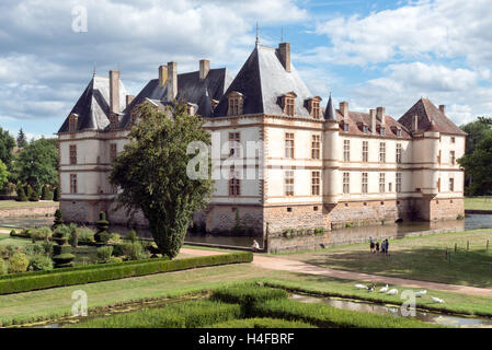 A view of the historic burgundian renaissance Chateau de Cormatin on a sunny Summer day - Stock Photo
