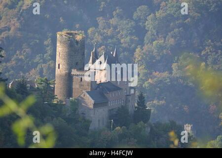 St. Goarshausen, Germany - September 15, 2016 -  Burg Katz near St. Goarhausen in german rhine valley - Stock Photo