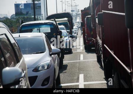 traffic jam highway  in Jakarta - Stock Photo