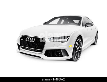 2016 Audi RS 7 Prestige Quattro Sedan luxury car isolated on white background with clipping path - Stock Photo