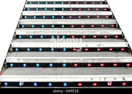 No entry stickers on stair risers of uk railway station platform staircase to indicate correct up & down access - Stock Photo