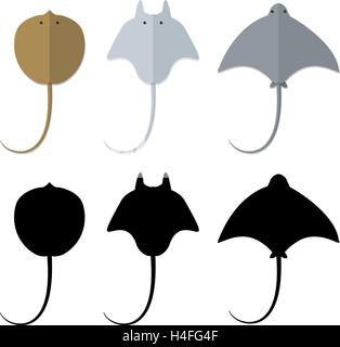 Top view, Stingray in flat and silhouette style, vector - Stock Photo