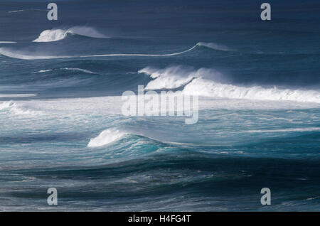 Overview of big waves on the north shore of Oahu Hawaii - Stock Photo