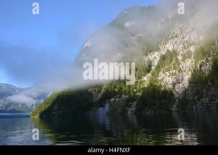 Berchtesgaden, Germany - August 23, 2016 -  Koenigssee in morning light seen from boat - Stock Photo
