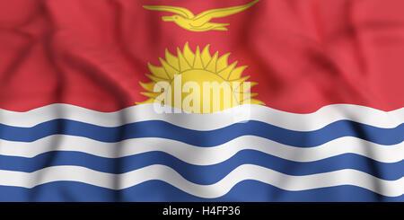 3d rendering of  Republic of Kiribati flag waving - Stock Photo