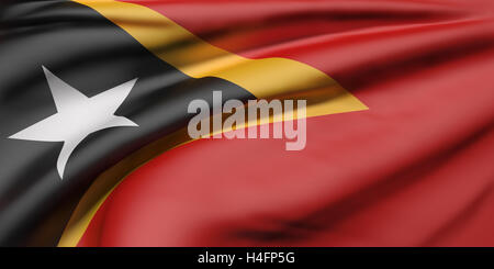 3d rendering of Democratic Republic of Timor-Leste flag waving - Stock Photo