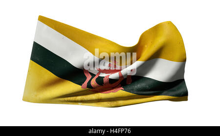 3d rendering of an old Nation of Brunei flag waving on white background - Stock Photo