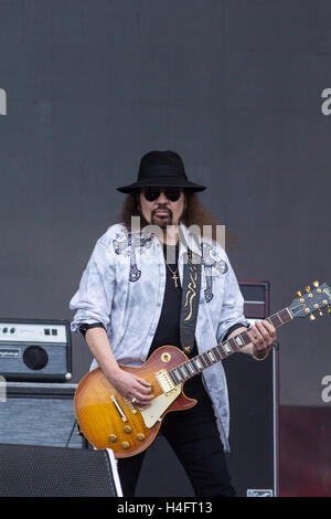 Gary Rossington of the Lynyrd Skynyrd Band performs at the Tortuga Music Festival in Fort Lauderdale Florida on - Stock Photo