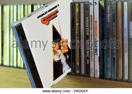 Sound track from the film A Clockwork Orange CD pulled out from among other CD's on a shelf - Stock Photo