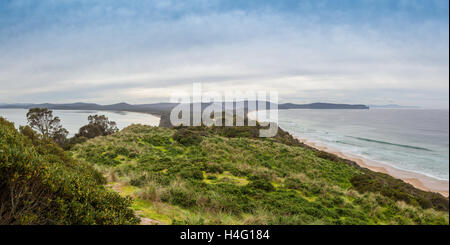 View of The Neck from lookout. Bruny Island, Tasmania, Australia. - Stock Photo