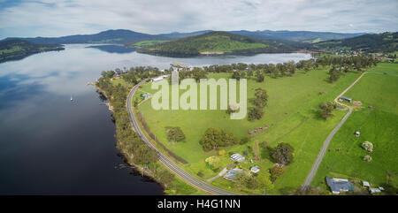 Aerial panorama of Huon River and Valley, Tasmania, Australia - Stock Photo
