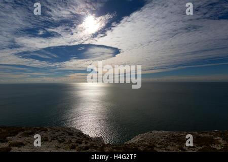 Fall Streak, fallstreak, Cloud Formation, over sea, Totland, Headen Warren, The Needles, Tennyson Down, Freshwater - Stock Photo