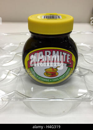 The  last jar of Marmite on sale at Tesco in Cambridge after a dispute with Unilever. - Stock Photo