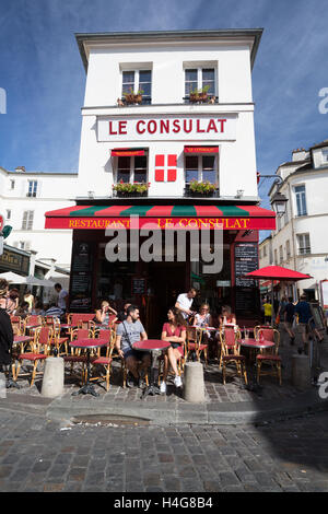 PARIS - AUGUST 14: View of typical paris cafe on August 14 2016 in Paris. Montmartre area is among most popular - Stock Photo