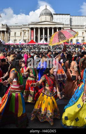 Trafalgar Square, London, UK. 16th October 2016. Diwali on the Square, celebration in Trafalgar Square. - Stock Photo