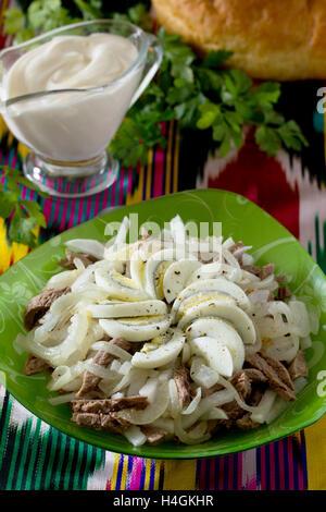 fresh green salad with radish and eggs stock photo