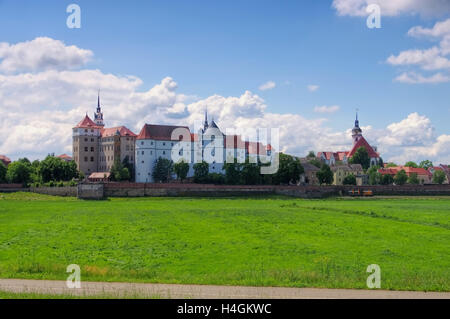 Torgau Burg Hartenfels in Sachsen - Hartenfels Castle in Torgau, Saxony Germany - Stock Photo