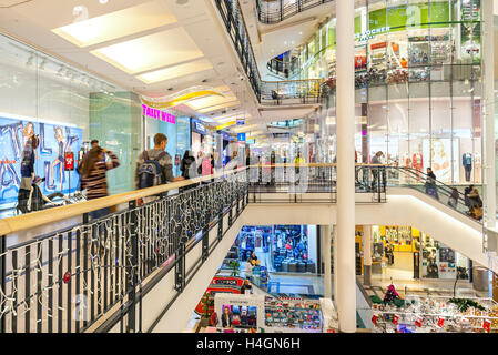 Interior view of Palladium shopping center decorated for Christmas holidays in Prague. - Stock Photo