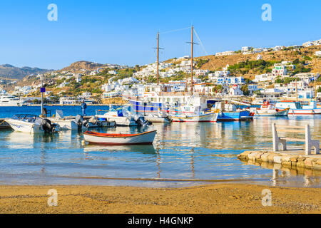 Typical colorful Greek fishing boats in Mykonos town port on island of Mykonos, Cyclades, Greece - Stock Photo