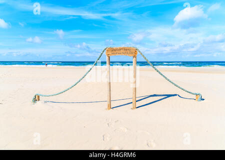 Sign on white sand beach which says 'Children entry only to this beach' in List area, Sylt island, Germany - Stock Photo