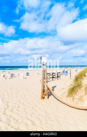 Entrance to sandy beach in Kampen village, Sylt island, Germany - Stock Photo