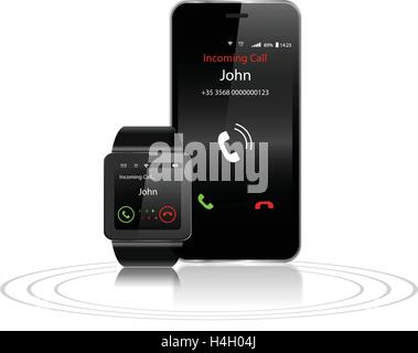 Black Touchscreen Smartwatch and Smartphone with incoming call on display - Stock Photo