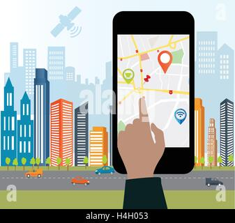 Smartphone navigation app and gps concept.Smart-phone navigation on the screen with roag sign.Smart city design - Stock Photo