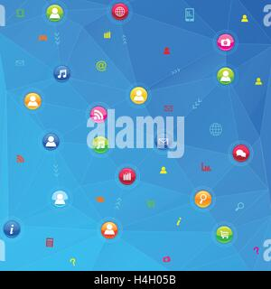 Social network communication in the global computer networks - Stock Photo