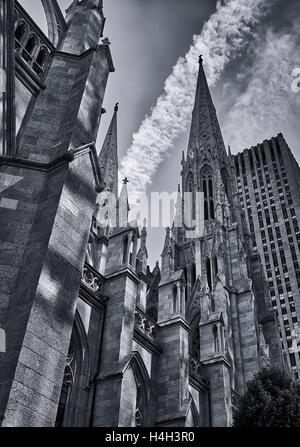 The north side of St. Patrick's Cathedral in New York City - Stock Photo