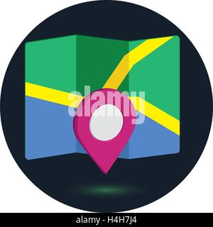 Map Icon an 3D Pin Design, EPS 10 supported. - Stock Photo