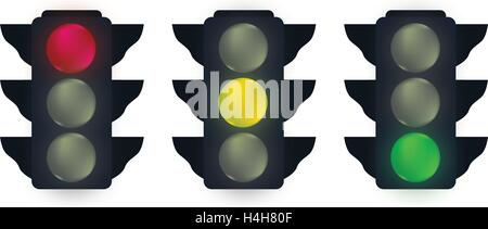 Traffic Lights Set  Design. EPS 10 supported. - Stock Photo