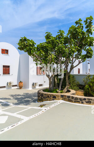 Typical Greek style house in Imerovigli village on Santorini island, Greece - Stock Photo