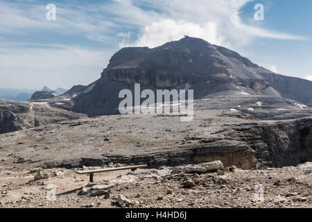 Piz Boe (3.152 m), the highest mountain of The Sella group, Dolomites, Italy. View from Sass Pordoi - Stock Photo