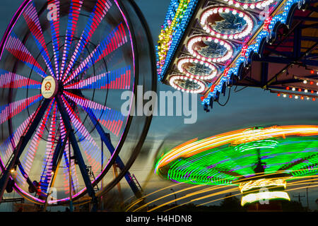 The Ancaster Fair at twilight in Ancaster, Ontario. - Stock Photo