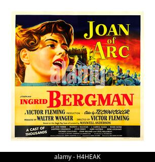 Epic 1948 vintage movie poster of Ingrid Bergman as Joan of Arc directed by Victor Fleming - Stock Photo