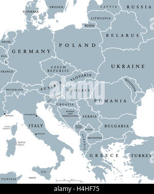 Central Europe countries political map with national borders. Gray illustration with English labeling and scaling. - Stock Photo