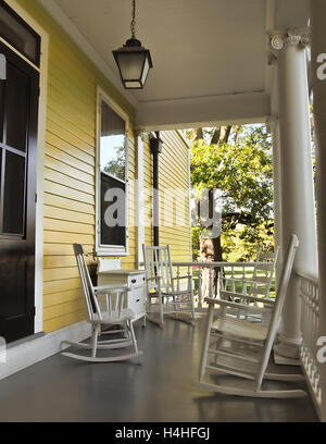 Traditional Southern Style Front Porch With Rocking Chairs