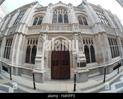 A extreme wide angle fisheye view of the front entrance to the Mayor's and City of London Court in London - Stock Photo
