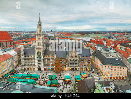 MUNICH - NOVEMBER 30: Aerial view of Marienplatz on November 30, 2015 in Munich. It's the 3rd largest city in Germany. - Stock Photo