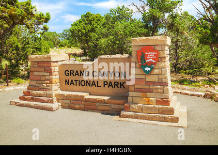 Entrance to the Grand Canyon National Park in Arizona - Stock Photo