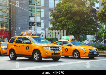 NEW YORK CITY - SEPTEMBER 05: Yellow cabs in the morning on October 5, 2015 in New York City.