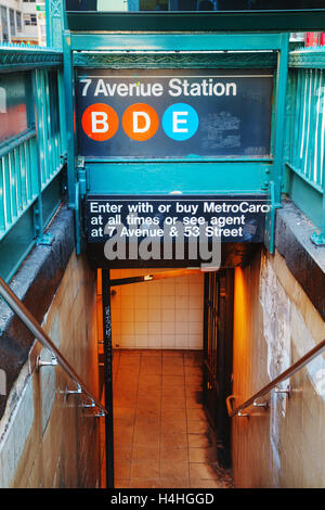 NEW YORK CITY - SEPTEMBER 5: 7th Avenue subway sign on September 5, 2015 in New York City. - Stock Photo
