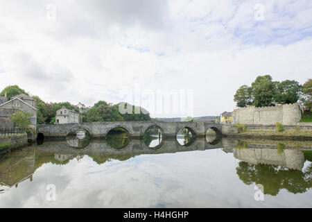 Ancient Stone bridge in Cardigan West Wales - Stock Photo
