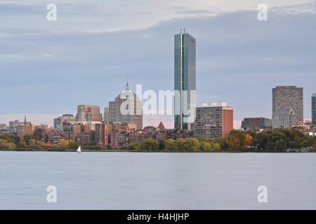 A long exposure of Boston's Back Bay skyline at sunset. - Stock Photo
