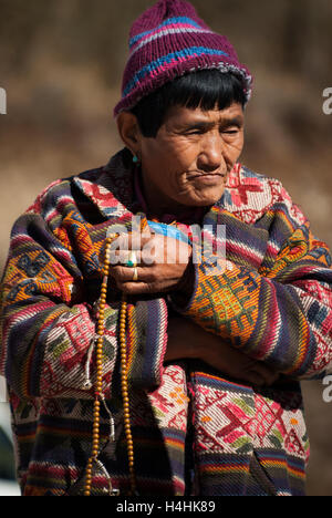 Elderly female nomadic yak-herder at Pele La, a 3420-m mountain pass between Trongsa and Wangdue Phodrang in Bhutan. - Stock Photo
