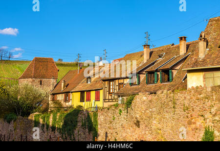 City walls of Riquewihr - Alsace, France - Stock Photo