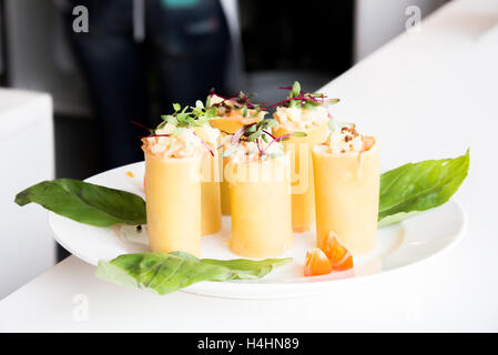 the appetizer - cheese rolls with meat and vegetables - Stock Photo